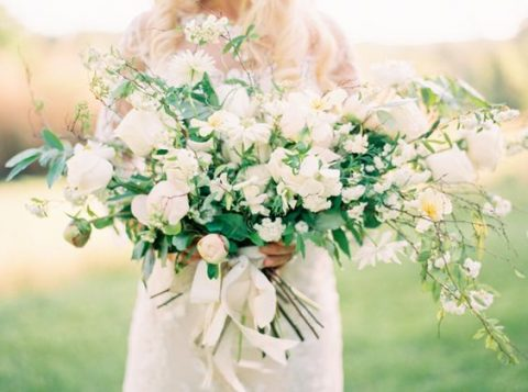 textural ivory and greenery floral bouquet