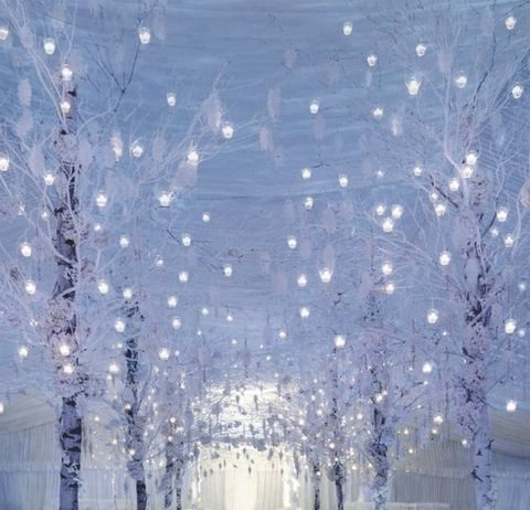 tiny candle lanterns hung on the trees for the aisle