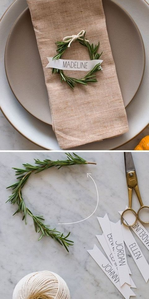 tiny rosemary wreaths for every placemat