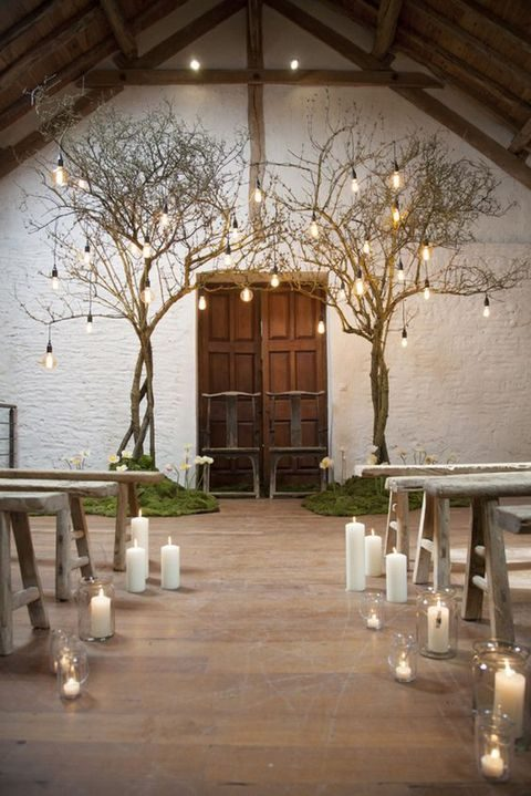trees with industrial bulbs and candle lanterns