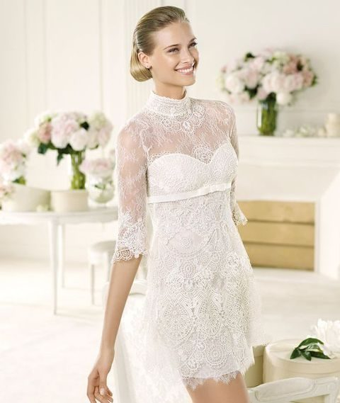 turtleneck mini lace wedding dress with an illusion neckline