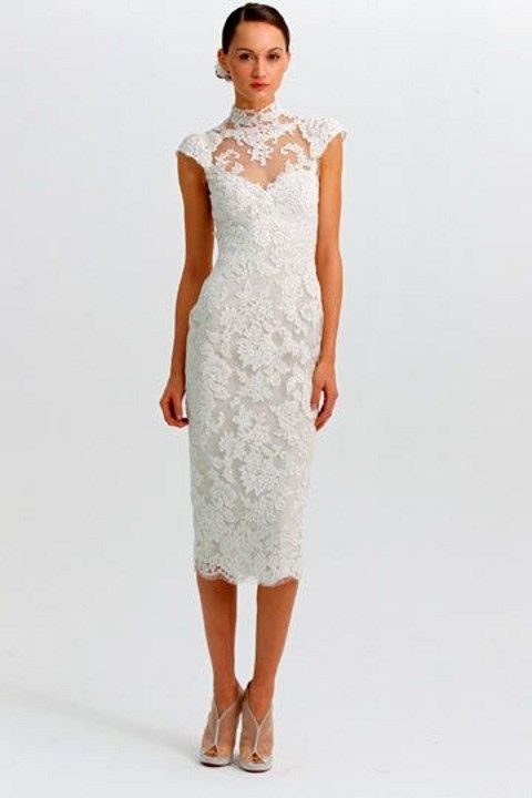 turtleneck tea-length lace dress with cap sleeves