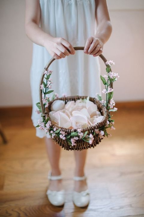 vine basket with flowers