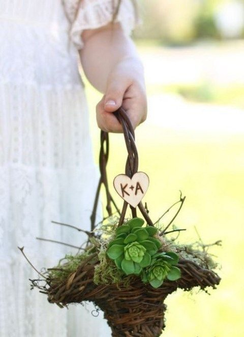 vine, moss and succulent flower girl basket