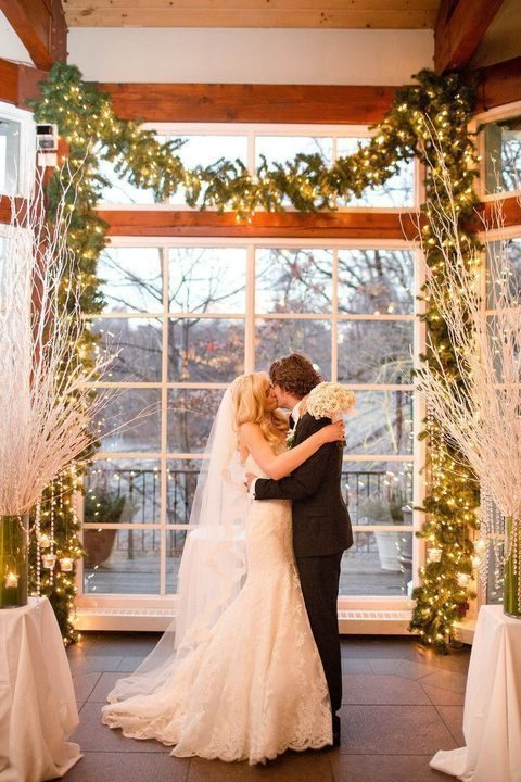 wedding evergreen garland with lights