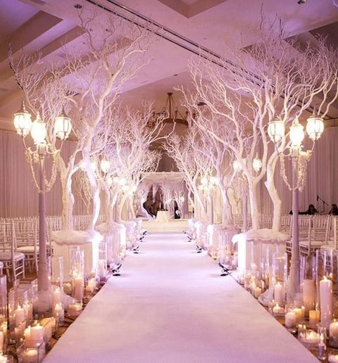 winter wonderland aisle with candle lanterns floor lamps