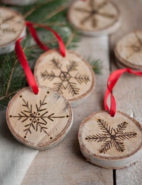 wood burnt slices on ribbon for decor or favors