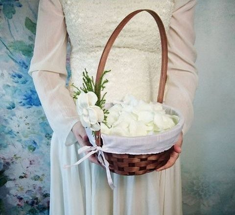 woven basket with ribbon and fabric