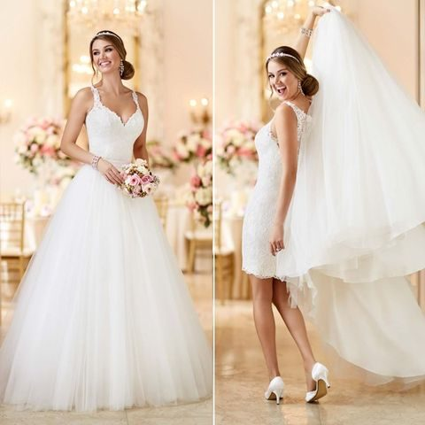 A-line wedding gown with straps can be transformed into a short one