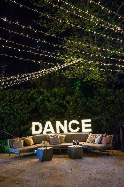DANCE marquee lights for the venue decor