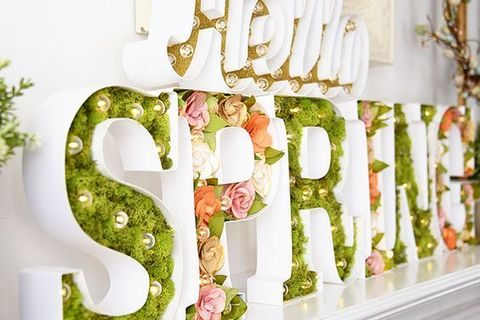 SPRING marquee letters with faux greenery and flowers