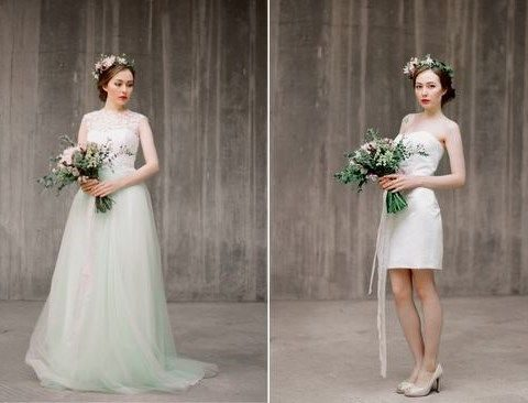a brideal separate with a lace bodice and a light green tulle skirt