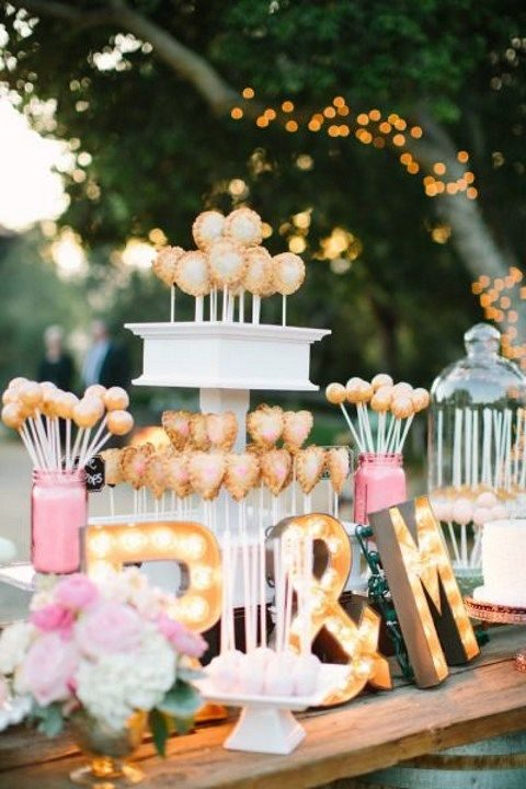 a dessert table will be perfectly decorated with marquee letters
