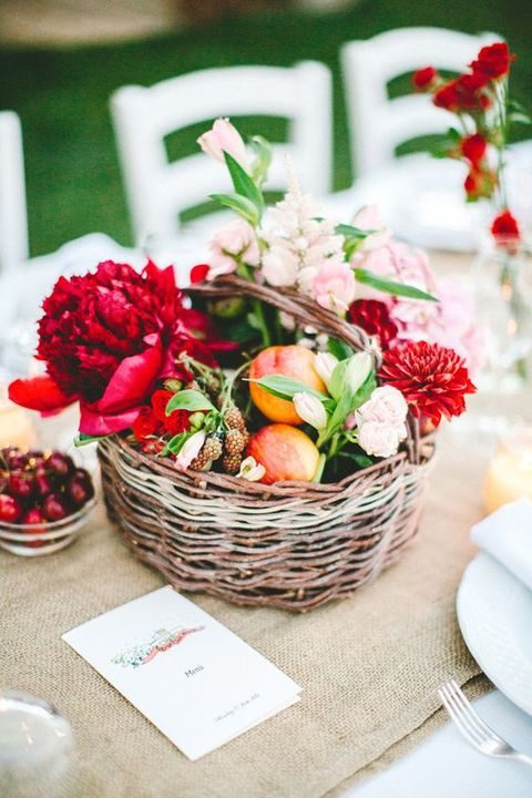 a summer basket centerpiece filled with fruit and flowers