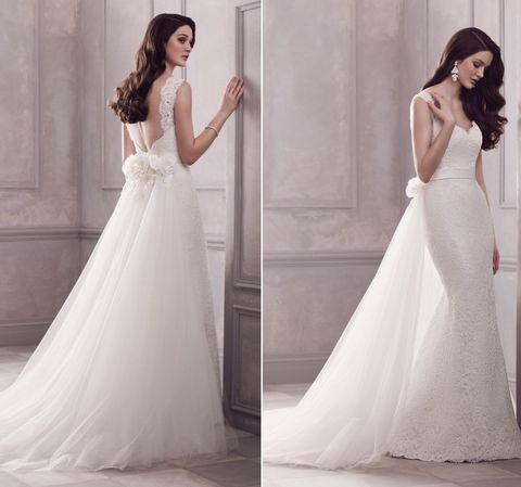 adorable lace strap wedding gown with a tulle skirt over it