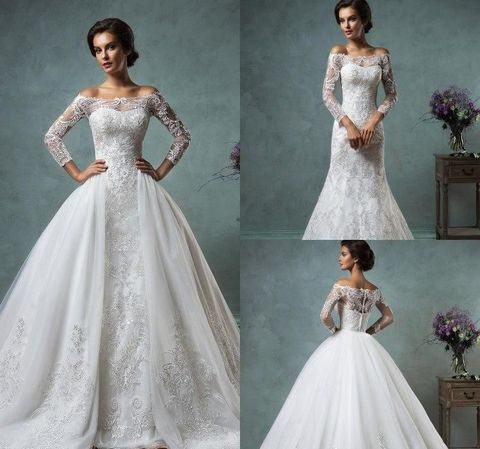 21 smart convertible wedding dresses happywedd an off the shoulder lace beaded dress with a detachable skirt junglespirit Image collections
