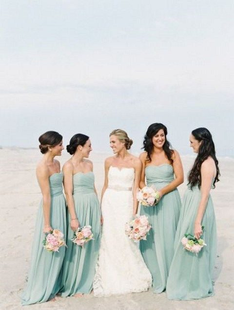 aqua strapless maxi dresses for a seaside wedding