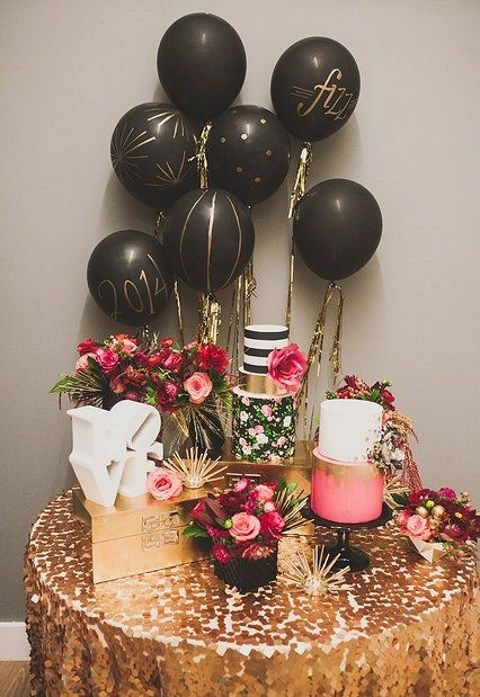 balloons and glitz dessert table