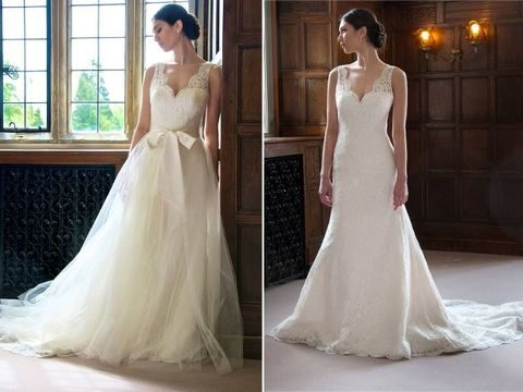 21 smart convertible wedding dresses happywedd beutiful wide strap lace dress with a lace skirt over it and a large bow convertible junglespirit Image collections
