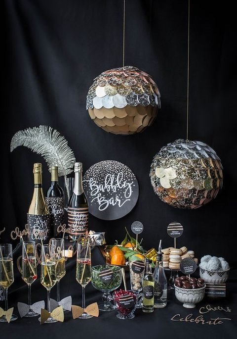 black and silver bubbly bar decor