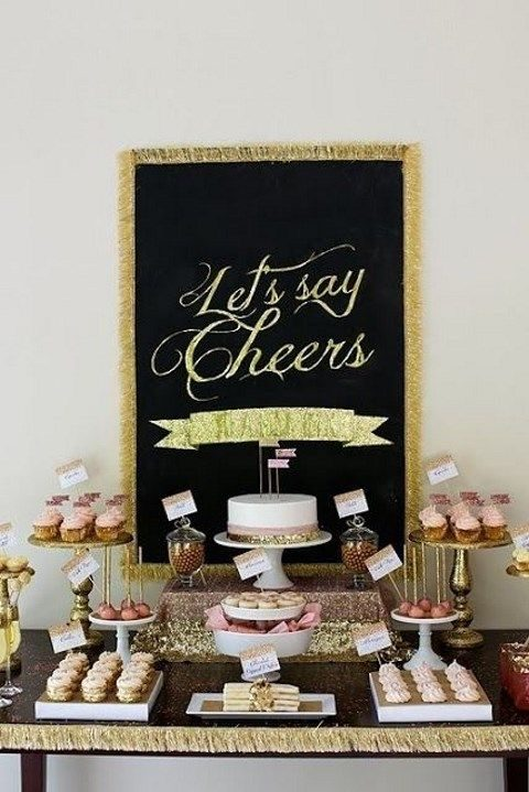 black, gold and pink dessert table