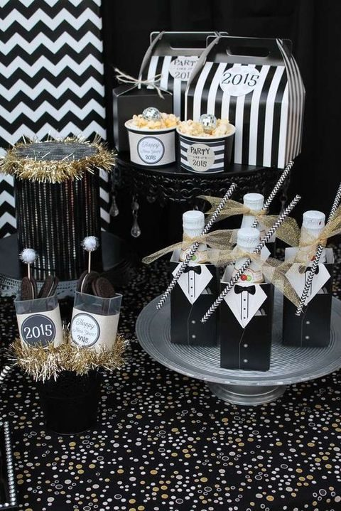 black, white and gold dessert bar