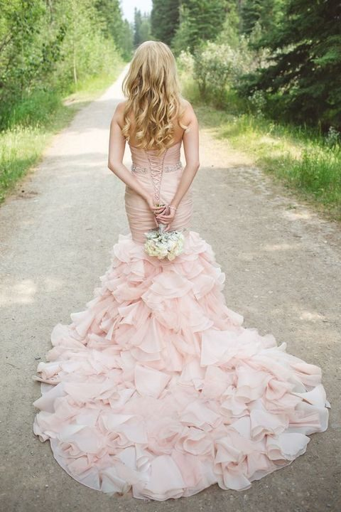 blush mermaid wedding dress wwith a train