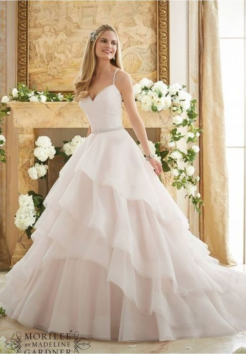 Blush Wedding Dress 1402 : Blush wedding dress with spaghetti straps and a ruffled layered skirt