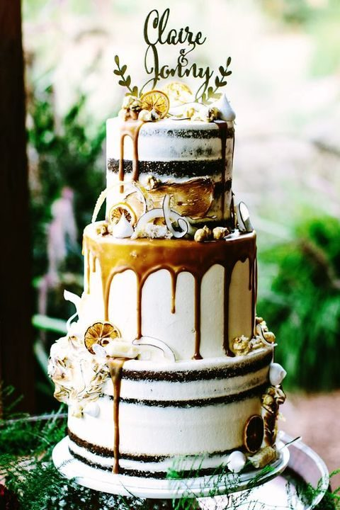 boho wedding cake with caramel drip, candied lemon and shaved coconut