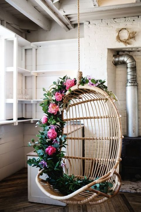 bold floral garland to cover a hanging chair