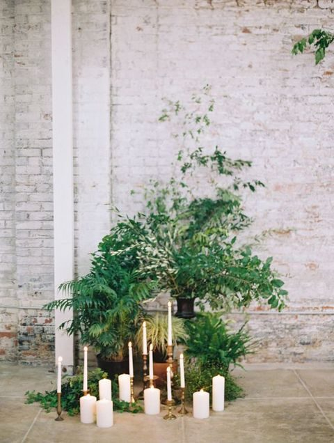 botanical decor with candles