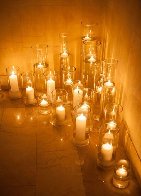 candles in transparent candle holders