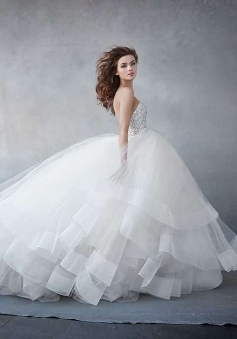 38 stunning layered tulle wedding dresses happywedd champagne tulle ball gown strapless sweetheart neckline pearl and rhinestone encrusted bodice junglespirit
