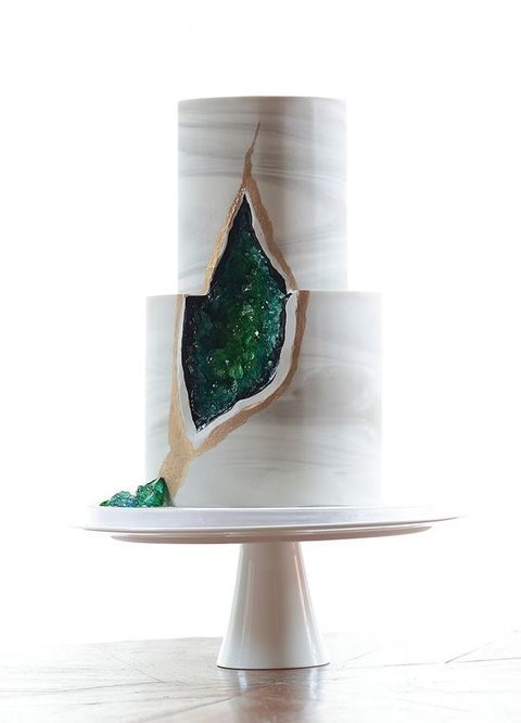 chic and bold marble geode wedding cake