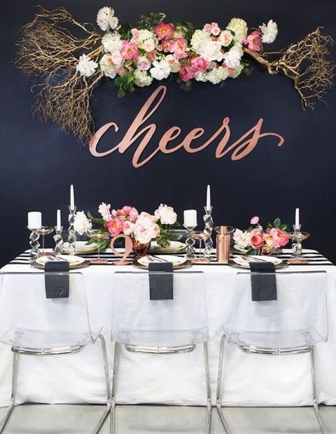 chic black and copper decor, pink and blush florals