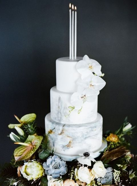 chic grey marble cake with white orchids