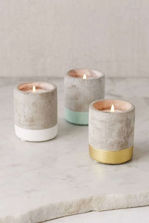 color blocked concrete candle holders