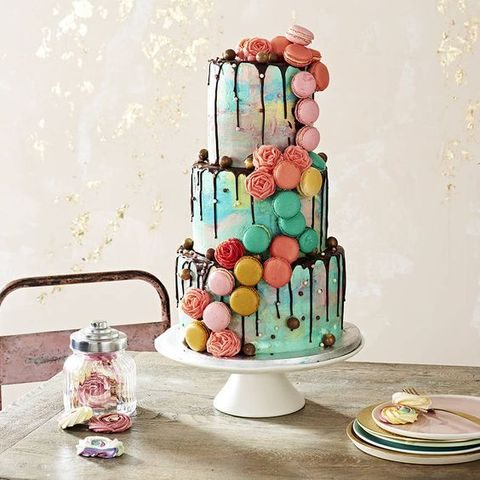 colorful macaron and chocolate drip cake