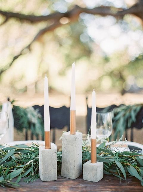 concrete candle holders for a modern wedding