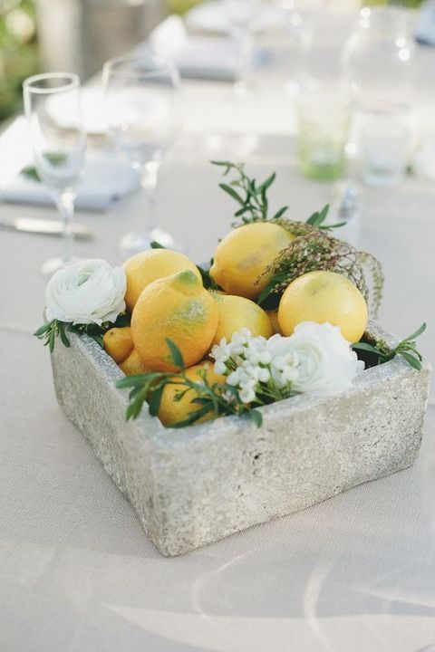 concrete lemon and bloom centerpiece