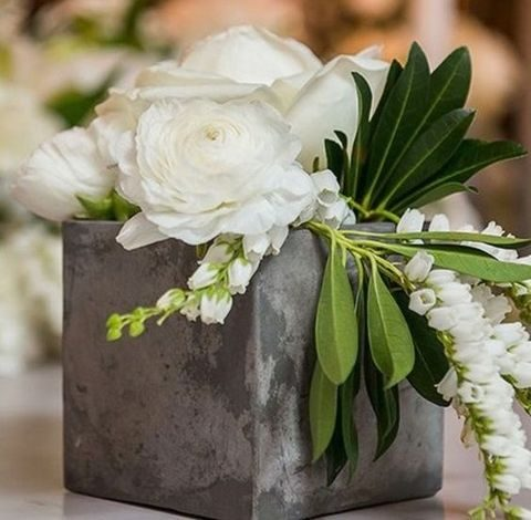 concrete pots are ideal for fresh greenery and flowers