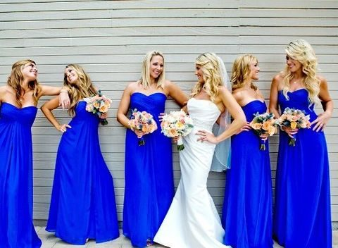dazzling blue maxi bridesmaids' dresses