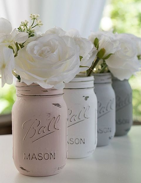 distressed pink, ivory and grey mason jars instead of vases