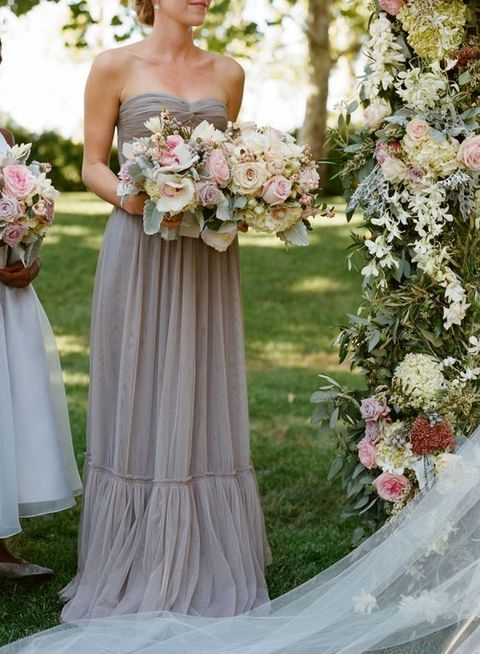dove grey chiffon bridesmaids' dress