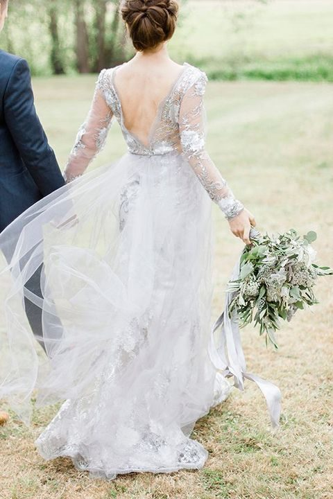dove grey lace wedding dress