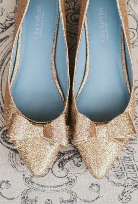 dusty blue and glitter gold bow flats