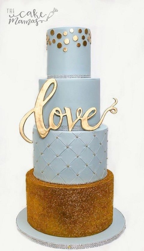 dusty blue and gold wedding cake with LOVE topper