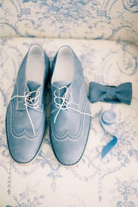 dusty blue groom accessories