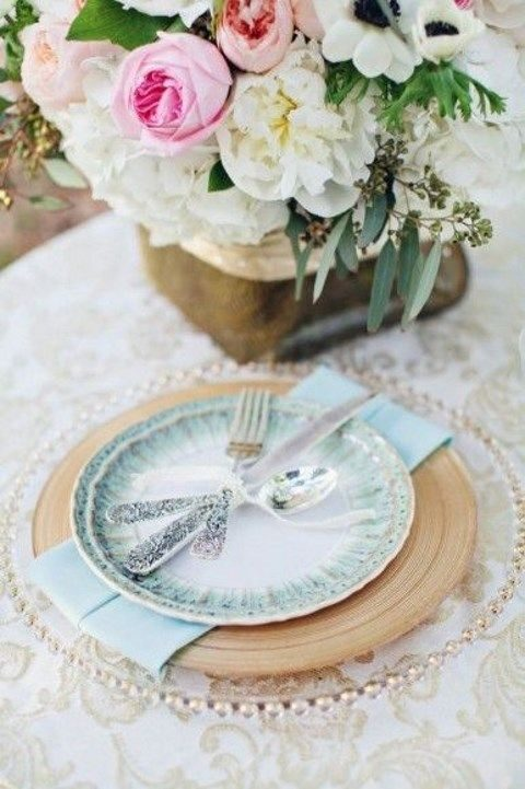 dusty blue plates and gold details