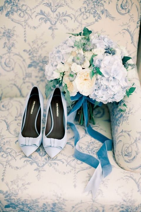 dusty blue shoes and bouquet